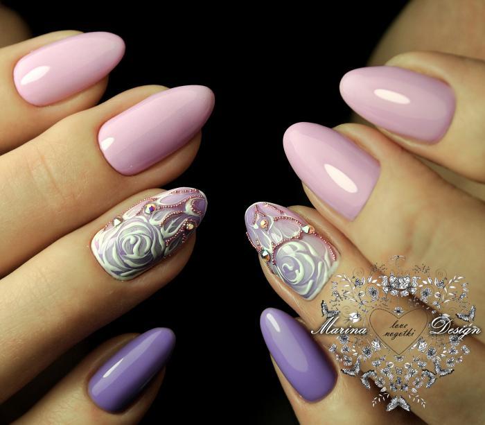 Миндалевидная форма ногтей: фото с дизайном
