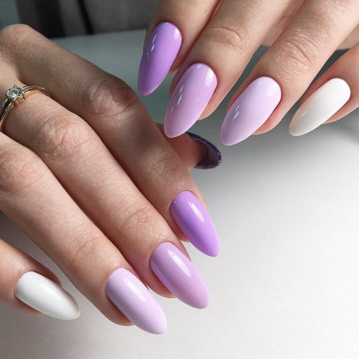 Миндалевидная форма ногтей: фото с дизайном омбре