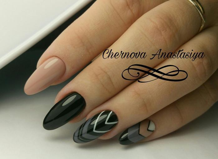 Миндалевидная форма ногтей: фото с дизайном геометрия