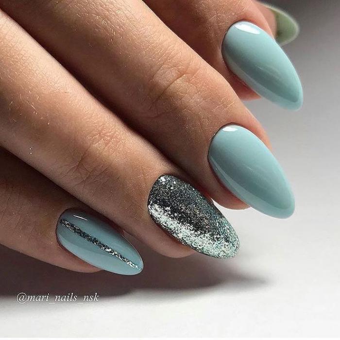 Миндалевидная форма ногтей: фото с однотонным дизайном