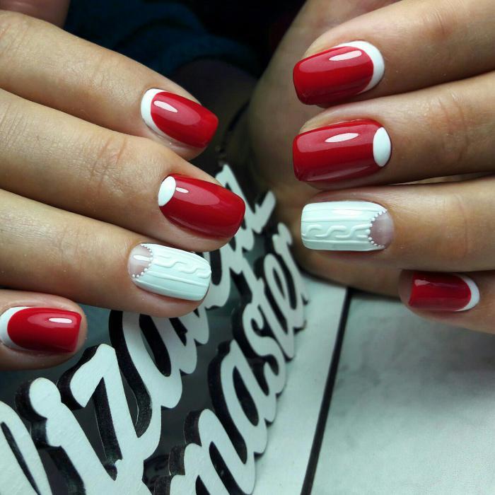 Лунный маникюр гель-лаком красный с белым, фото
