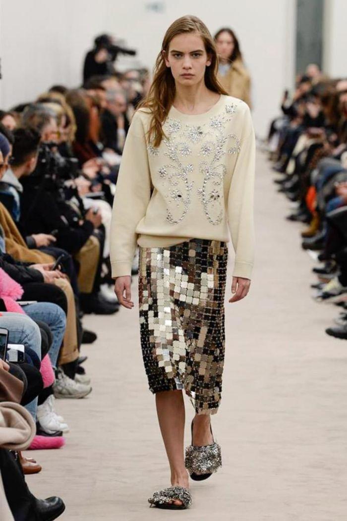 Модная женская юбка осень-зима Paco Rabanne
