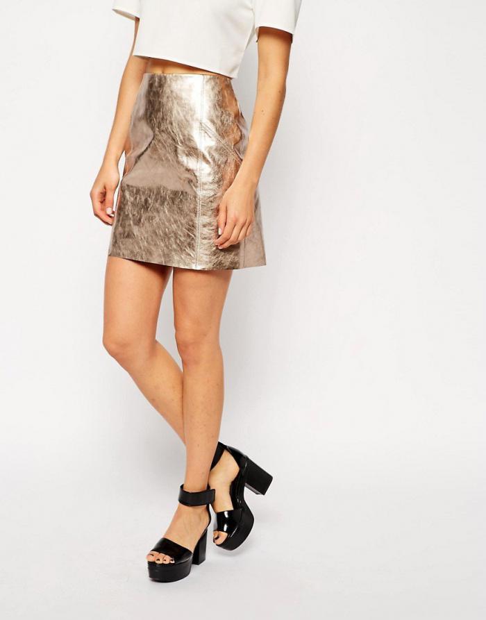 С чем носить модную кожаную юбку. Модные луки 2018-2019