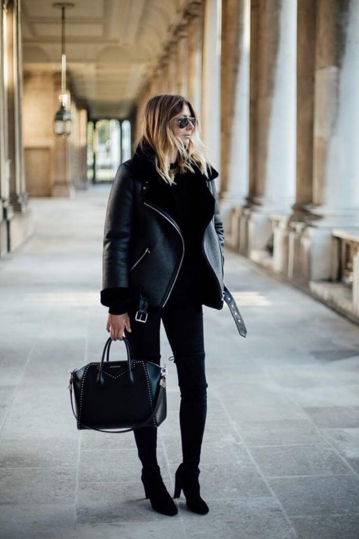 С чем носить черную женскую куртку: модные луки 2018-2019