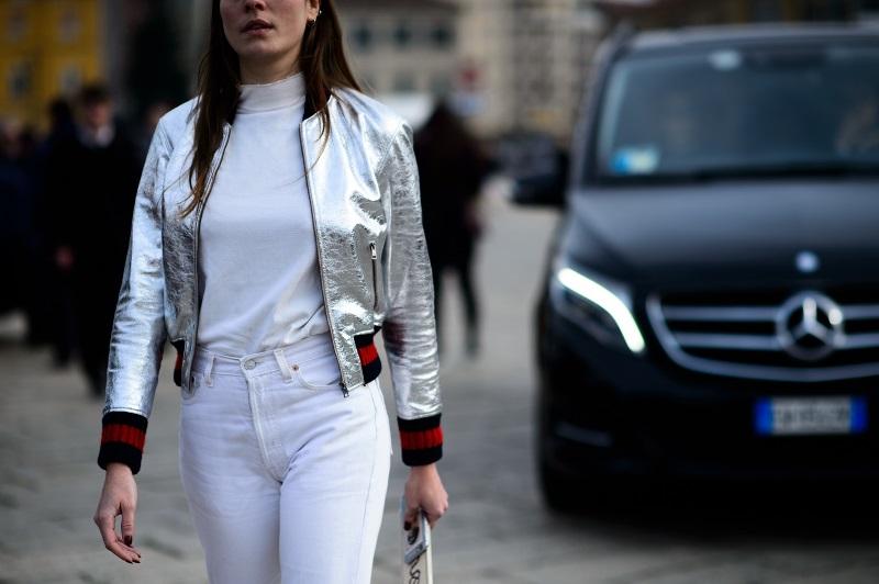 Модная куртка металлик