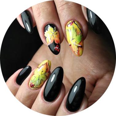 Маникюр с листьями - 5 идей рисунков на ногтях для осени