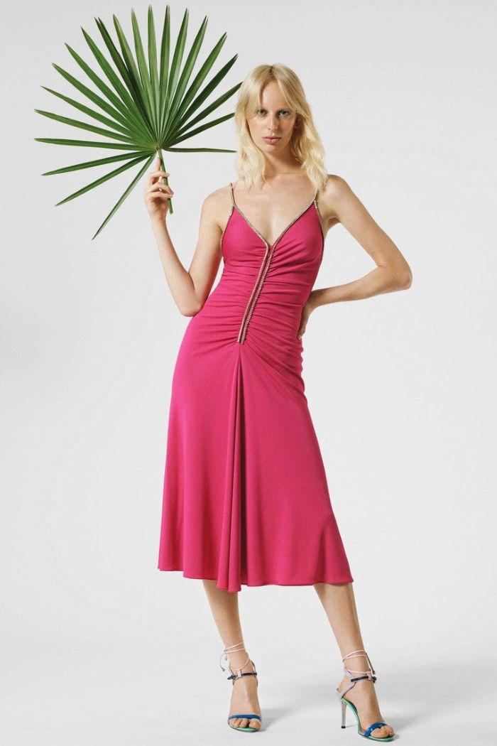 Модное розовое летнее платье на бретелях. Коллекция Emilio Pucci