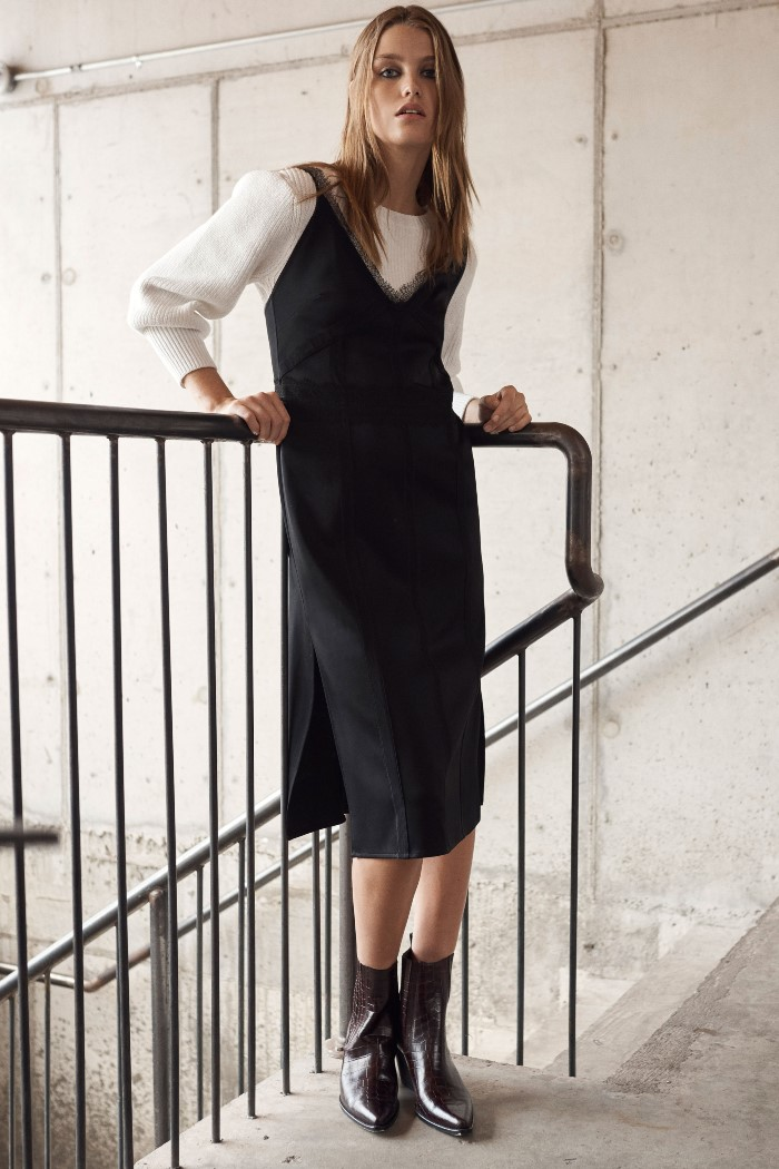 С чем носить черное платье-комбинацию Jason Wu