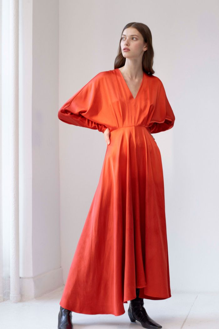 Модное коралловое платье Alejandra Alonso Rojas