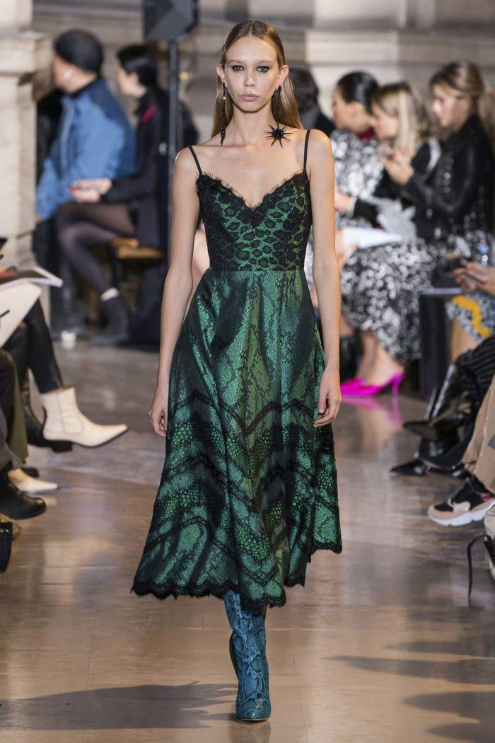 Зеленое платье с леопардовым принтом Andrew Gn