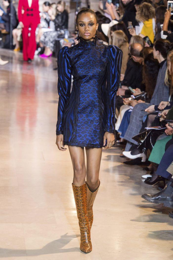 Синие платье с леопардовым принтом Andrew Gn
