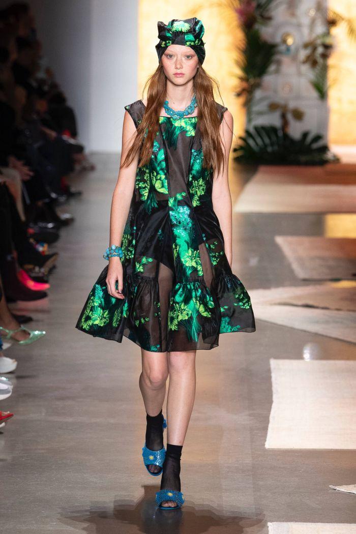 Черно-зеленое платье Anna Sui