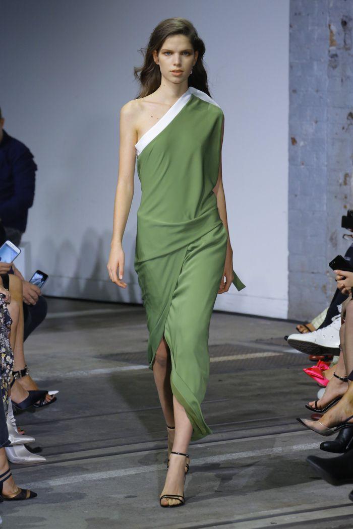 Бело-зеленое платье Bianca Spender
