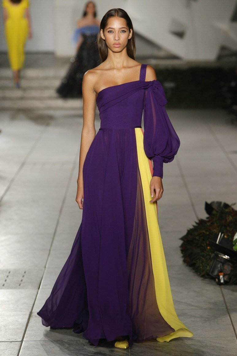 Желто-фиолетовое платье Carolina Herrera