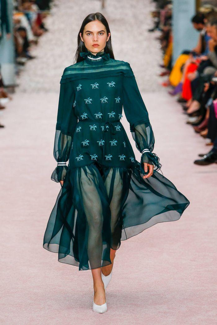 Модное шифоновое бирюзовое платье Carolina Herrera