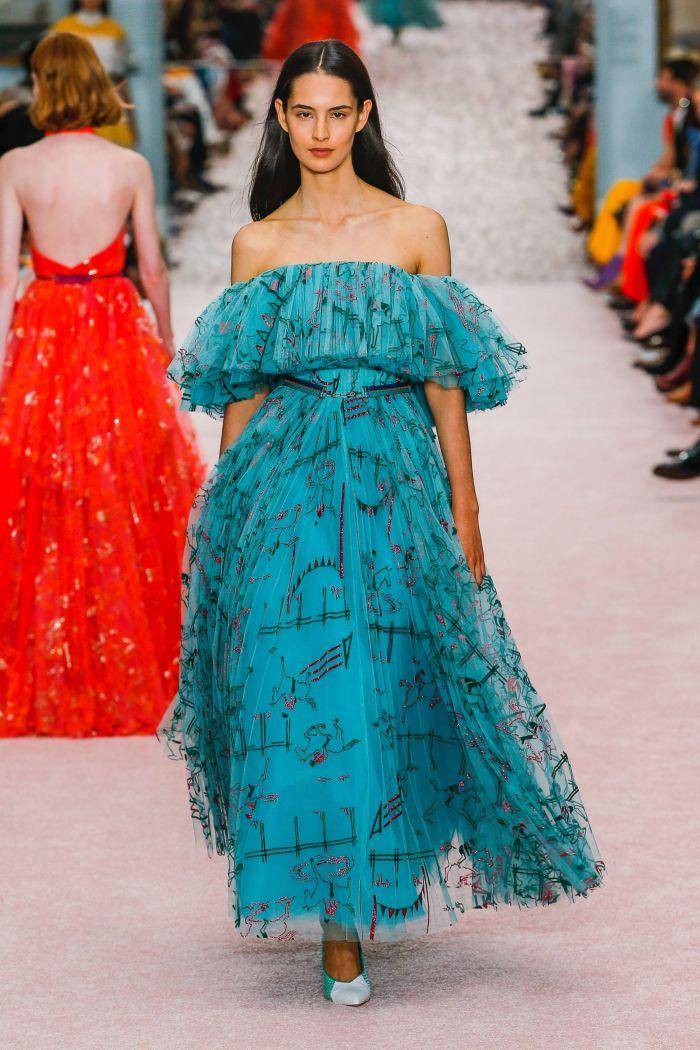 Черно-голубое платье Carolina Herrera