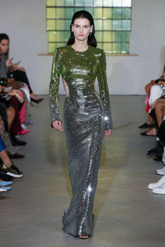 Зеленое вечернее платье David Koma