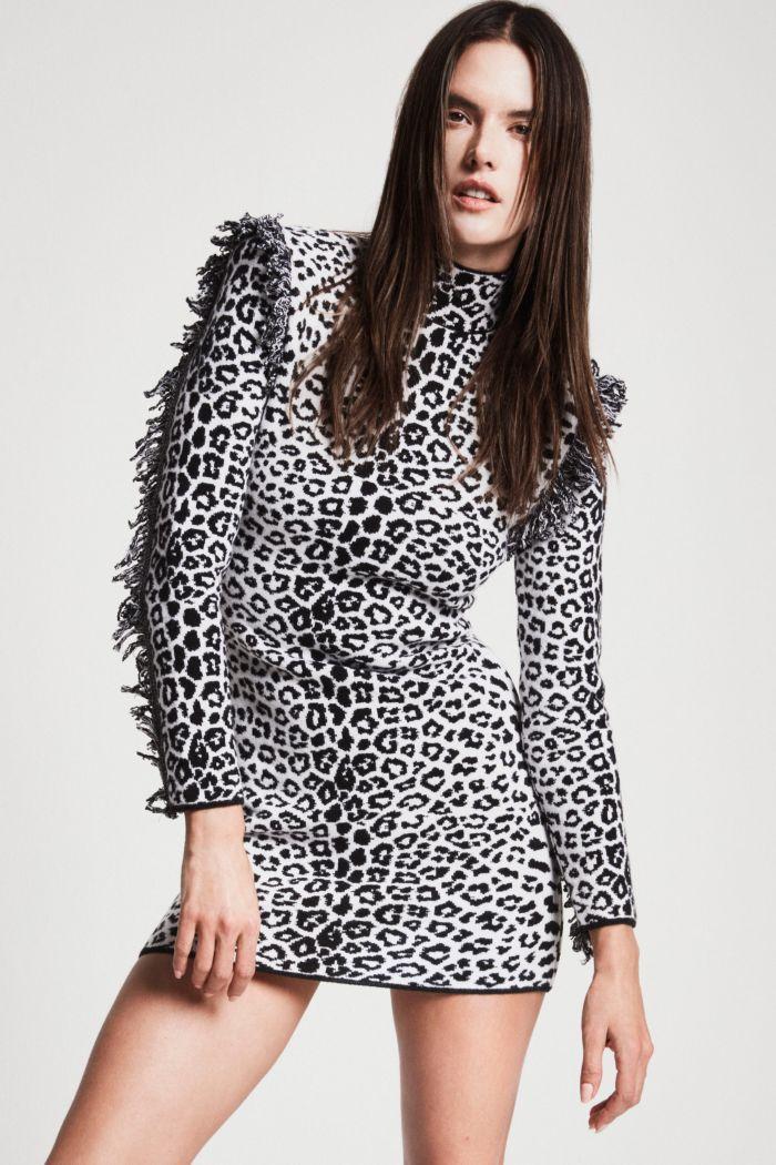 Модное короткое леопардовое платье Dundas