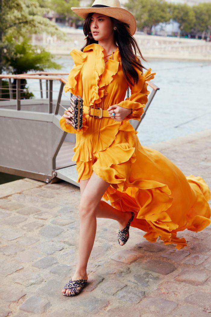 Модное оранжевое платье Elie Saab