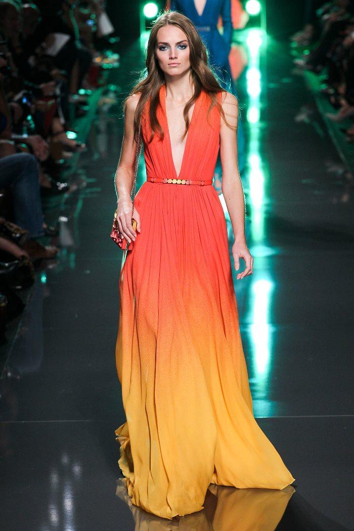Желто-красное платье Elie Saab