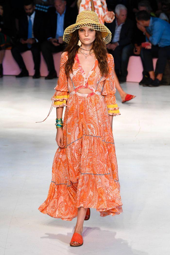 Длинное оранжевое платье Etro