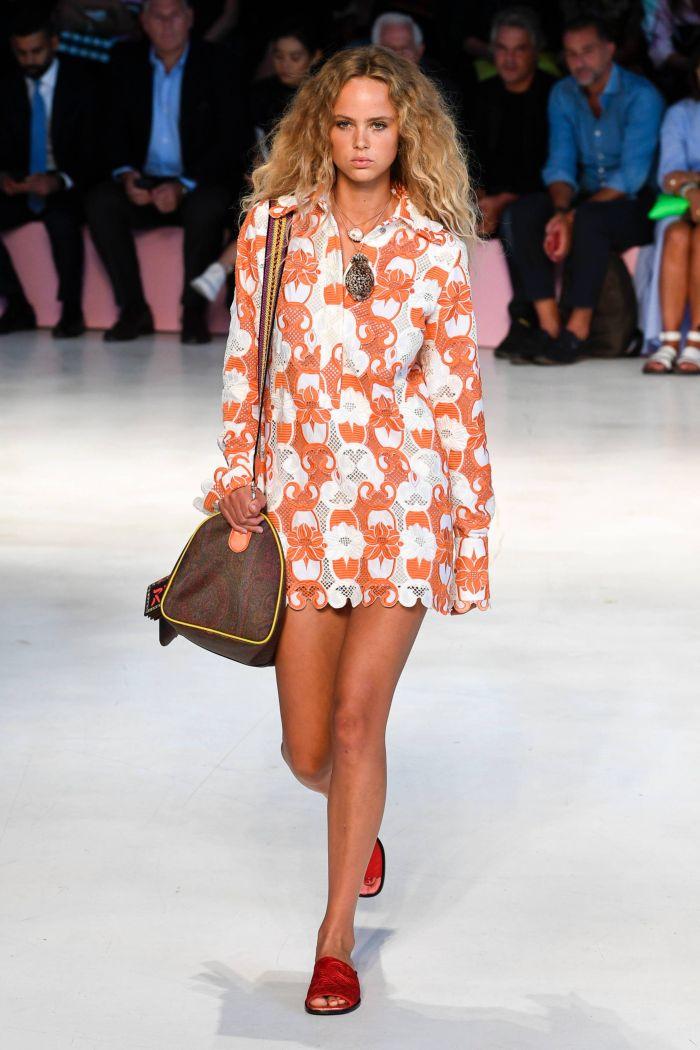 Оранжевое платье-рубашка Etro