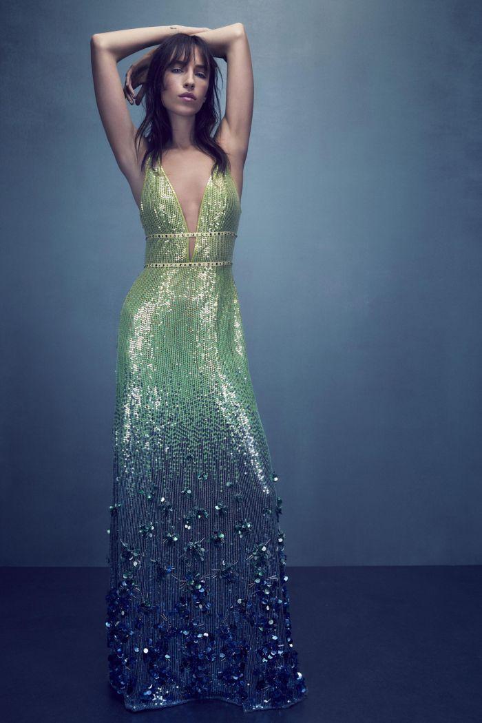 Зеленое вечернее платье Jenny Packham