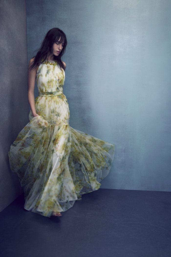 Шифоновое зеленое платье Jenny Packham