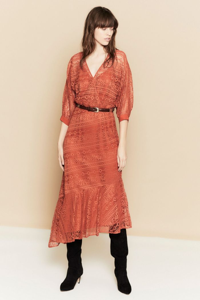 Коралловое платье с кружевом Joie