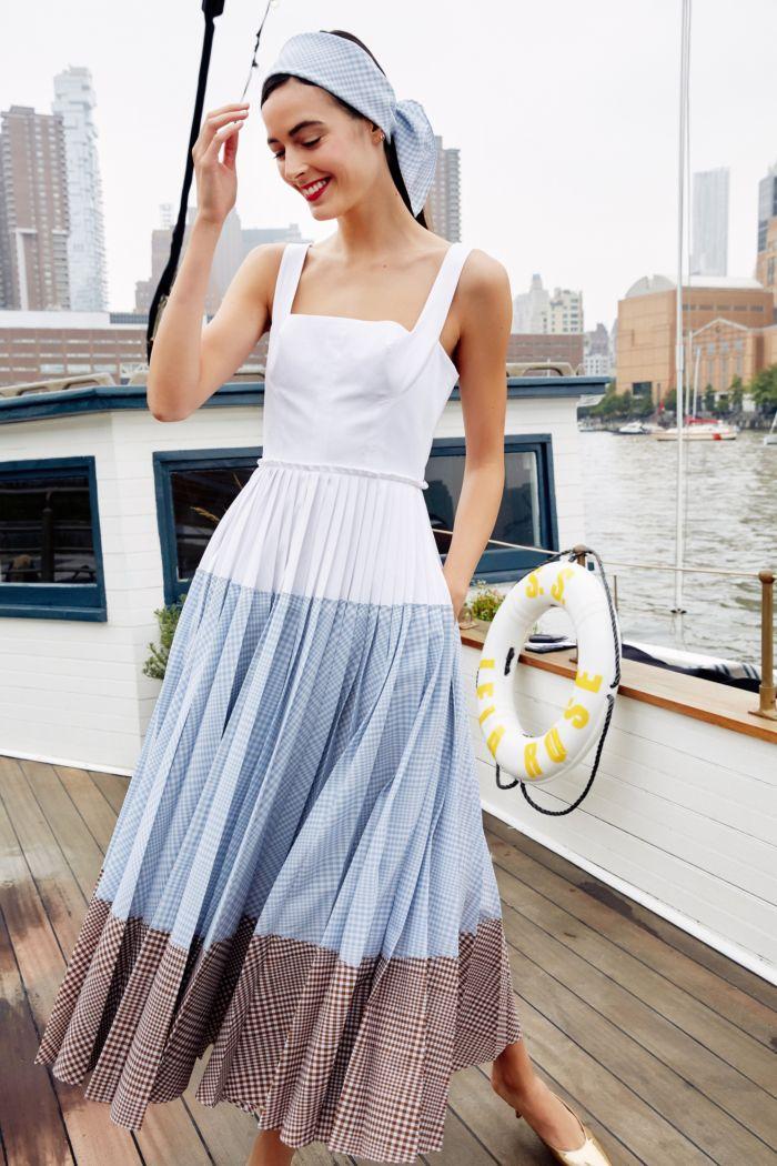 Бело-голубое платье Lela Rose