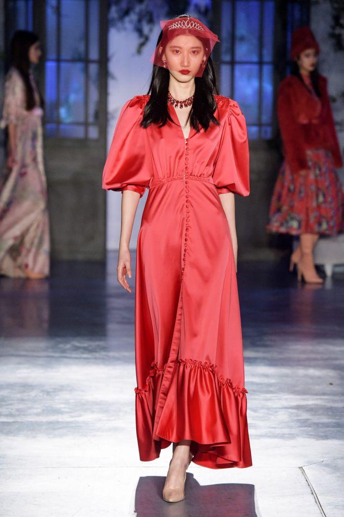 Коралловое платье с рукавом буф, Luisa Beccaria