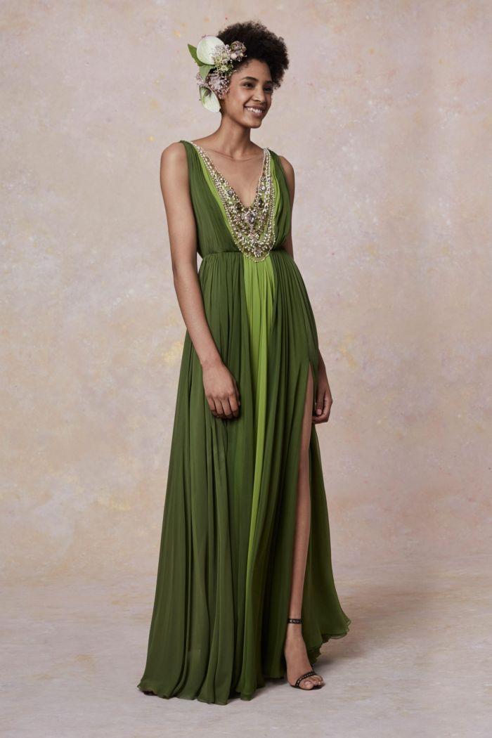 зеленое вечернее платье Marchesa