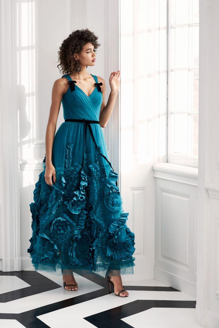 Вечернее бирюзовое платье Marchesa Notte