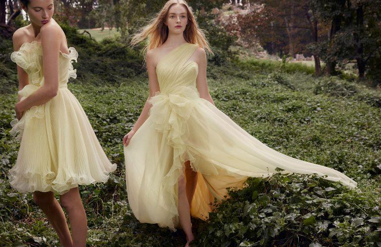 Модное желтое платье Marchesa