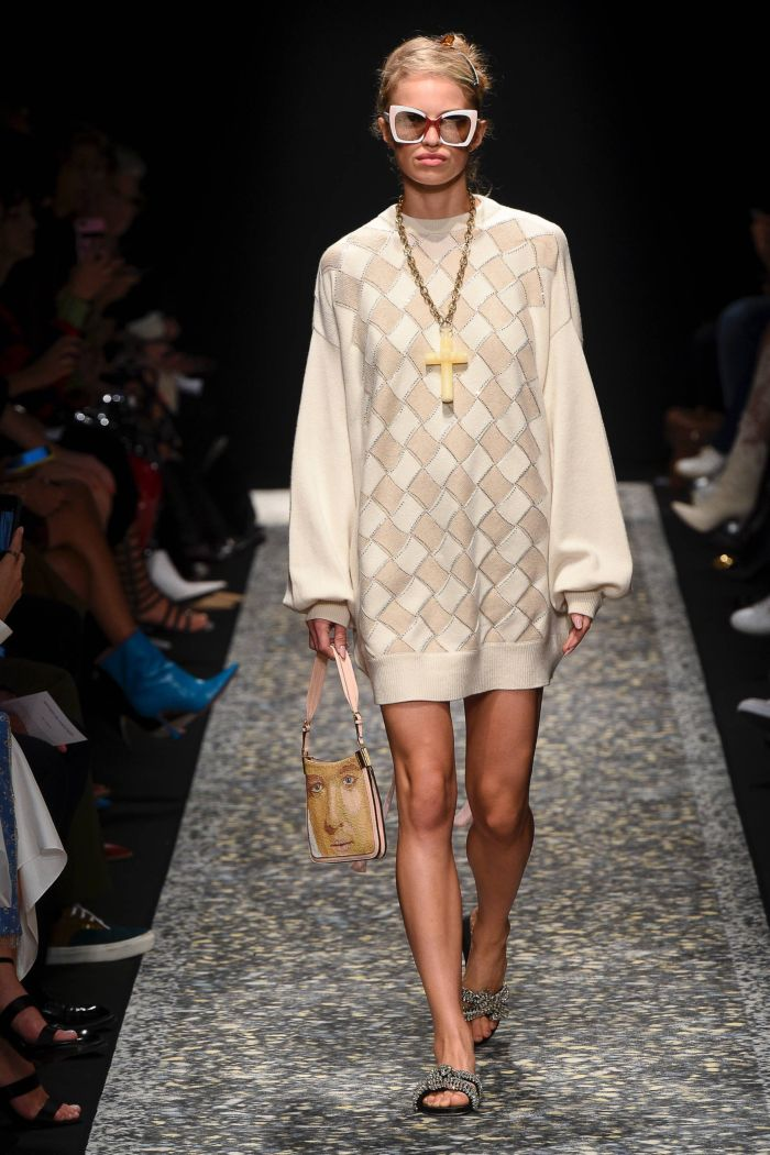 трикотажное бежевое платье Marco de Vincenzo