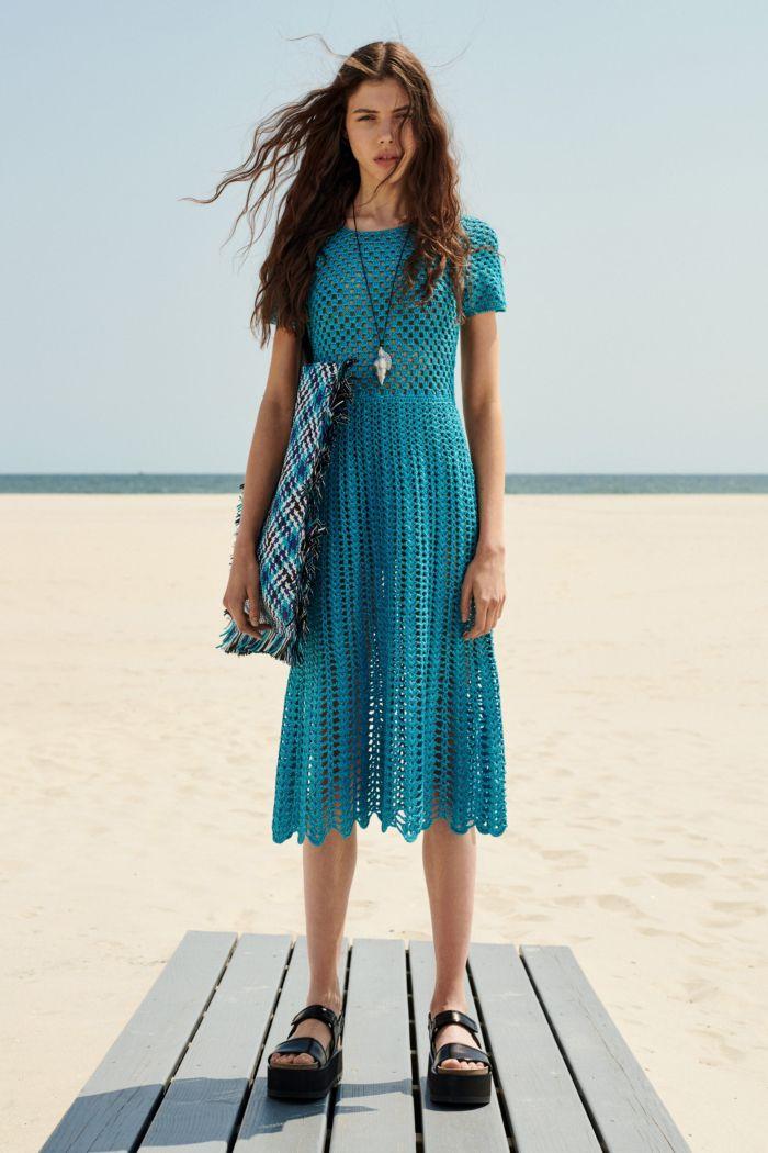 Летнее вязаное платье бирюзового цвета Michael Kors Collection
