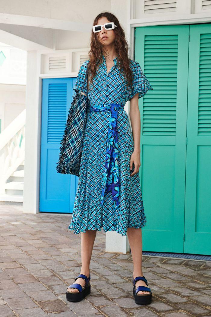 Модное голубое платье-халат Michael Kors Collection