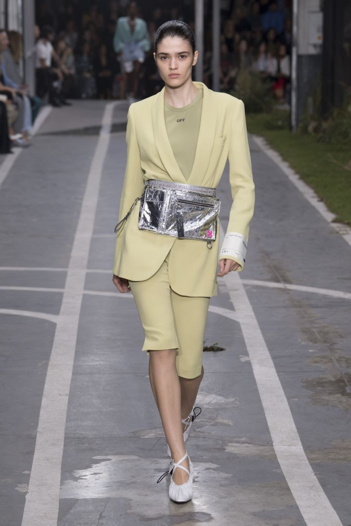 Модная поясная сумка металлик Off-White
