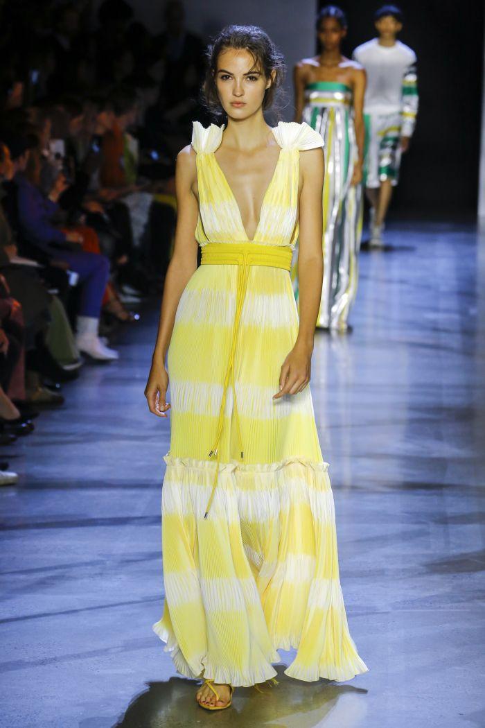 Желто-белое платье Prabal Gurung