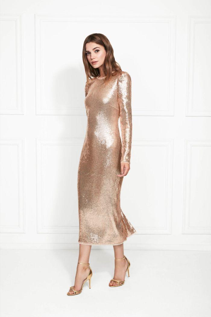 Бежево-золотое платье Rachel Zoe