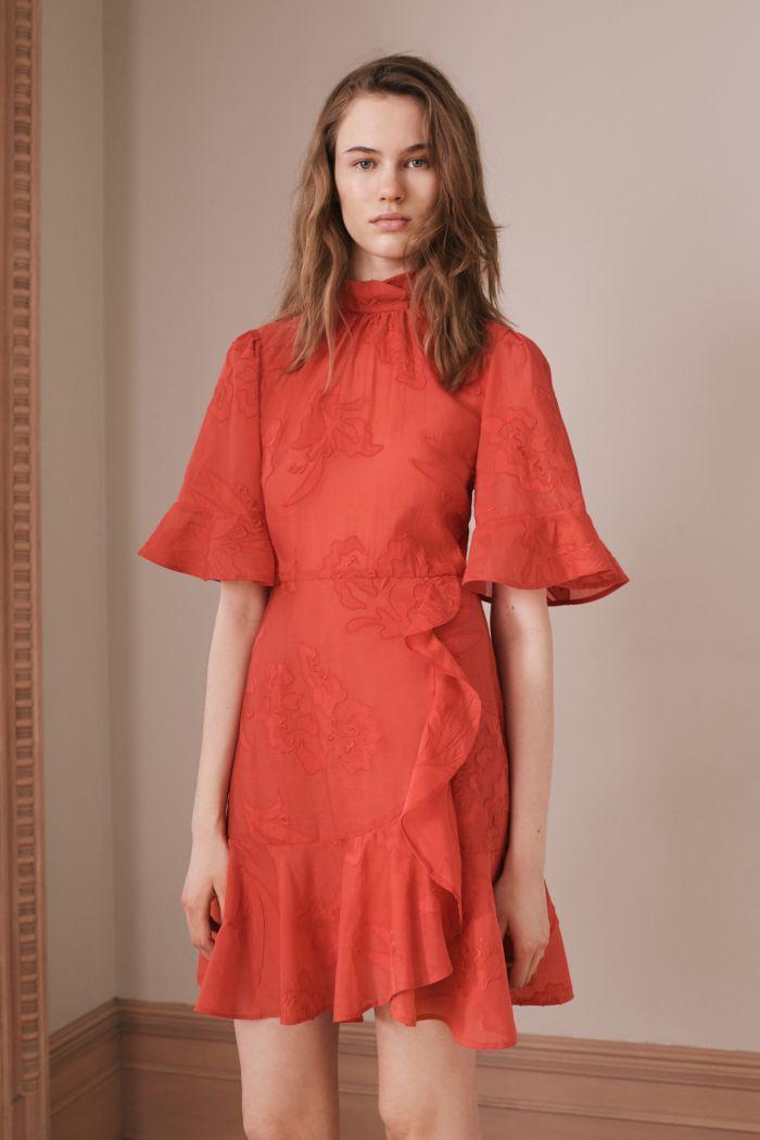 Коралловое платье с воланами Rebecca Taylor