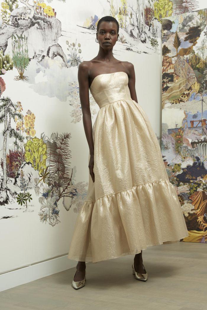 Вечернее бежевое платье Reem Acra
