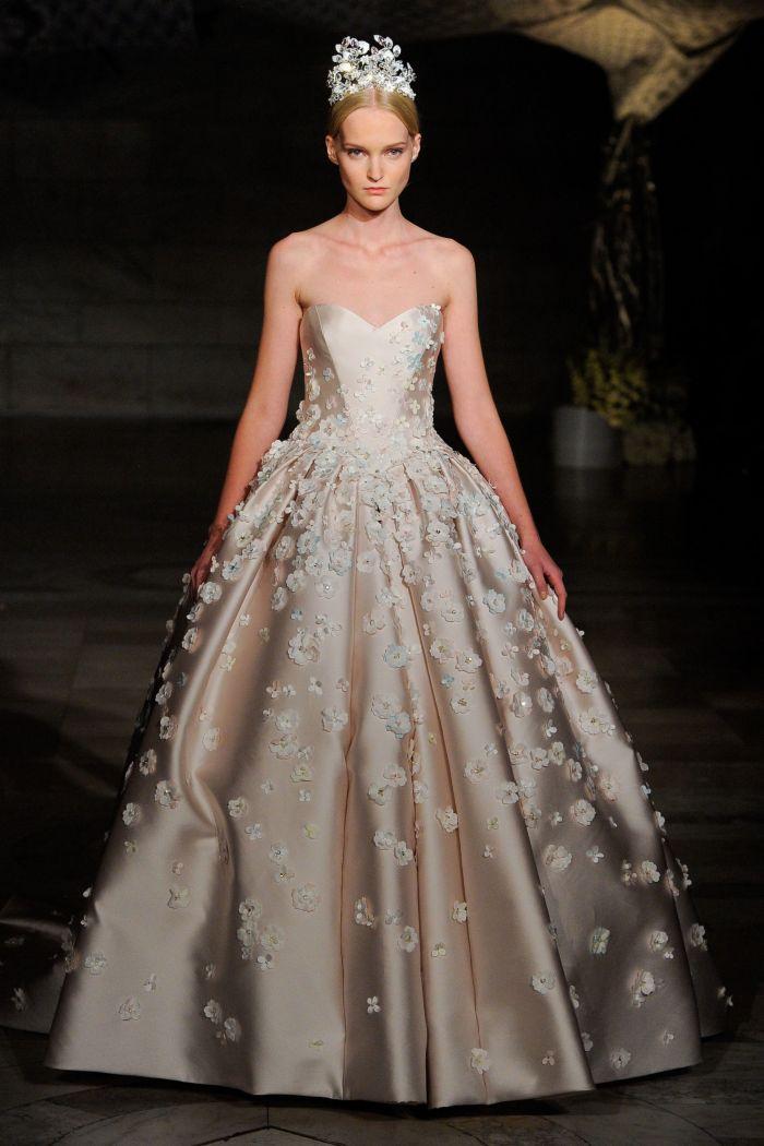 Бежевое свадебное платье Reem Acra