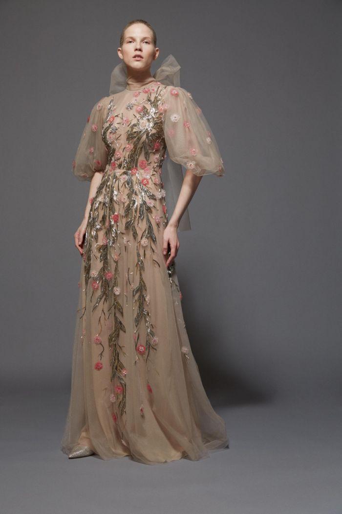 Прозрачное бежевое платье с цветами Reeem Acra