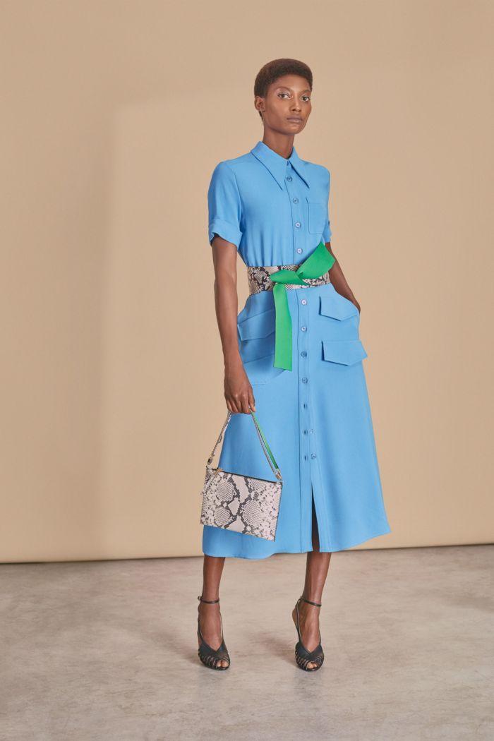 С чем носить модное голубое платье. Коллекция Rochas