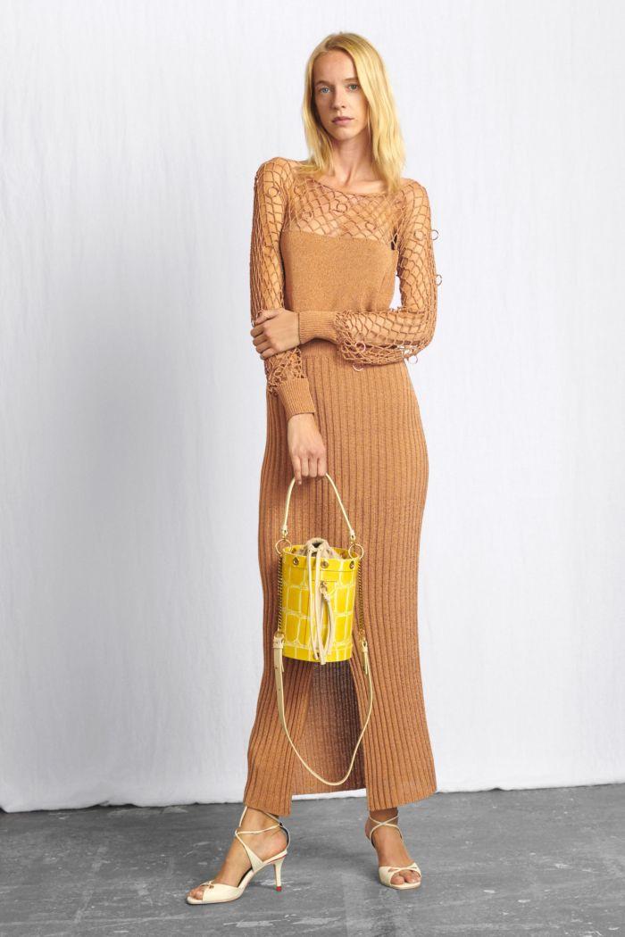 Бежевое платье-лапша See by Chloé