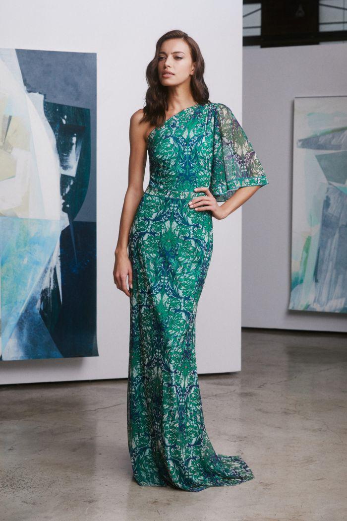 Сине-зеленое платье Tadashi Shoji
