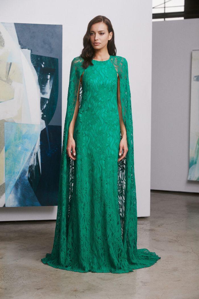 зеленое платье с кружевом Tadashi Shoji