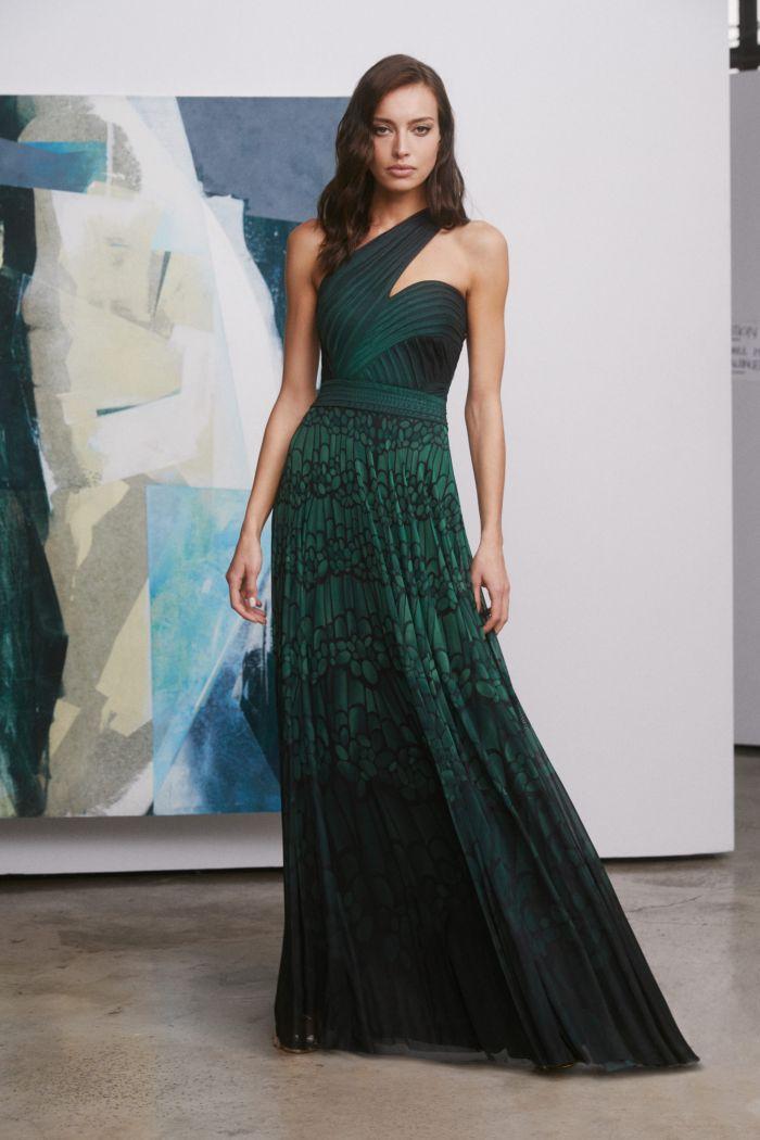Зеленое вечернее платье Tadashi Shoji