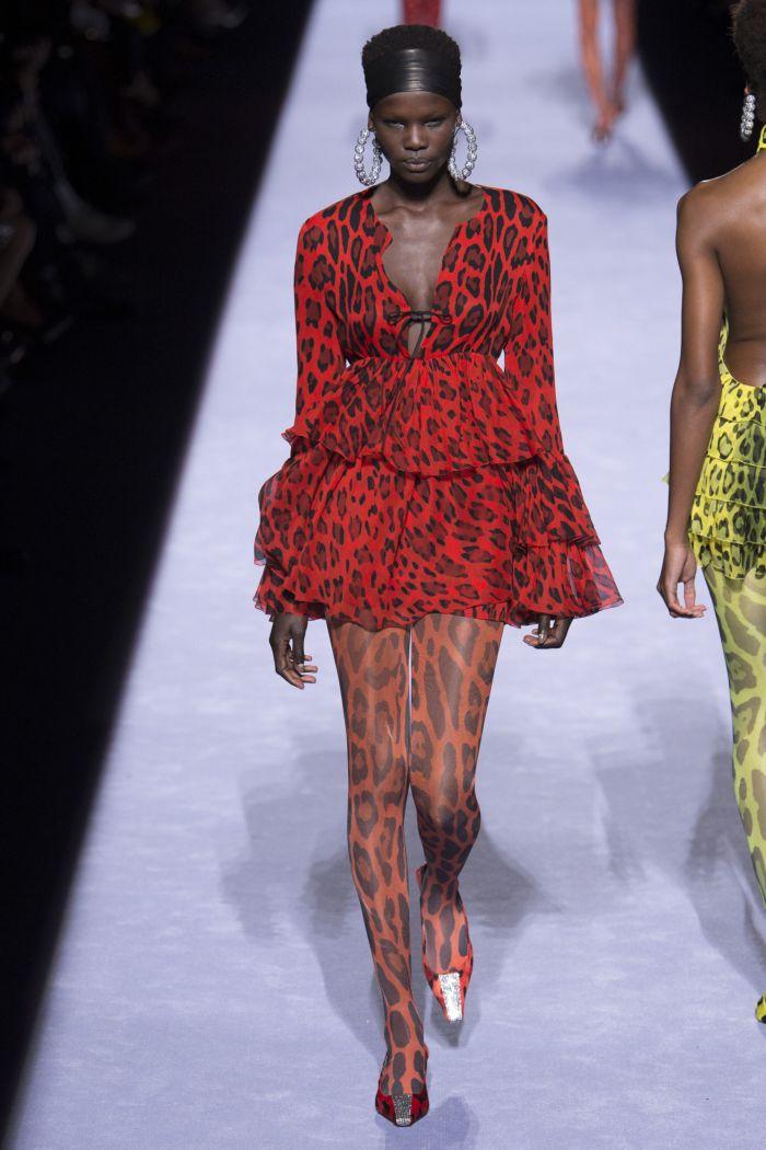 Красное платье с леопардовым принтом Tom Ford